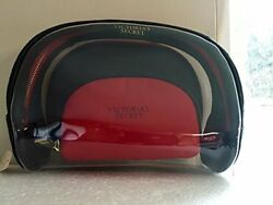 VICTORIA'S SECRET BLACK REDCLEAR BAG MAKEUP BEAUTY CASE CLUTCH LARGE ORGANIZER