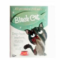 Wags amp; Whiskers Cat Greeting Card quot;Black Wags amp; Whiskers Cat Forever Hungryquot; by
