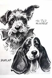 Morgan Dennis 1946 PUP and BURLAP -  TERRIER and BASSET HOUND Vintage Dog Print