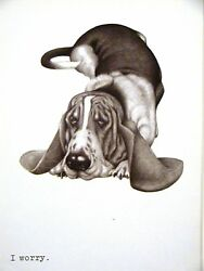 Boswell WORRIED BASSET HOUND 1958 Dog Art Print Matted