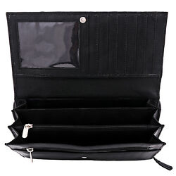 Lot of 3 Genuine Leather Women's Wallets Long Black Multi Compartment Travel $32.99