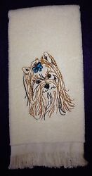 Yorkshire Terrier Head Yorkie Towel Embroidered Custom Personalized Dog