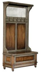 Luxe Solid Wood Hall Tree Coat Hat Rack Storage Bench Rustic Distressed Cottage