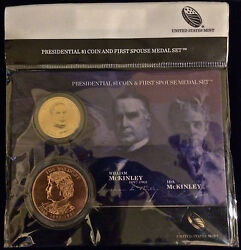 2013 William And Ida Mckinley Presidential 1 Dollar Coin / First Spouse Medal Set