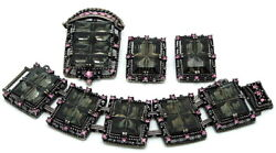 Vintage Sarah Coventry Brooch Earrings Bracelet Midnight Magic Black And Pink