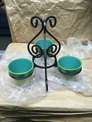 Southern Living Gail Pittman Hand Painted Pots And Stand Provence New 40880