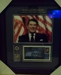 Ronald Reagan Framed Stamp, Stamp Cover, And Pin Usps