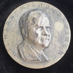 1969 Richard Nixon .999 Fine Silver Inauguration Medal With Box Stand Paperwork