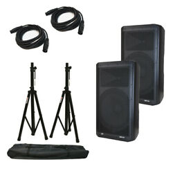 2 Peavey Dm 115 Dark Matter Pro Audio Powered 15 Speaker W/ Stands And Cables
