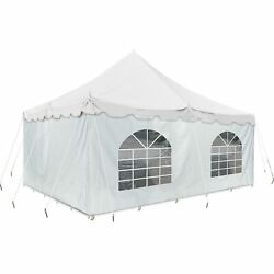 Event Party 20and039 X 20and039 Pole Tent 14 Oz Vinyl Canopy 2 Solid 2 Window Side Walls