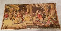 Gorgeous Victorian Antique Tapestry Dancing Gathering Made In Belgium 38 X 19