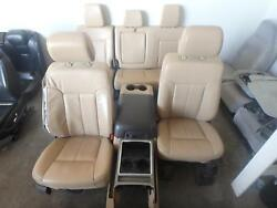 99-16 FORD F250 F350 FRONT REAR SEAT CONSOLE TAN LEATHER HEAT POWER OEM
