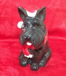New With Tag Christmas Scottish Terrier Scottie Dog Cookie Jar Biscuit