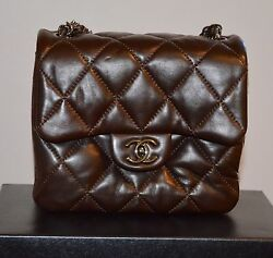 CHANEL BROWN LAMBSKIN CLASSIC QUILTED LEATHER MINI FLAP CHAIN CROSSBODY HANDBAG