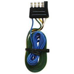 Flat 5 Way Male Trailer Side Wire Connector For Boat Trailers - 12 Inch Wire