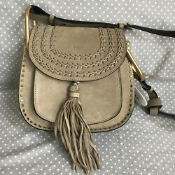 CHLOE Hudson Small Braided Suede Saddle Crossbody Shoulder Bag Motty Grey