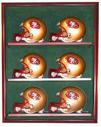 6 Full Size Football Helmet Side By Side Display Case - Sports Display Case