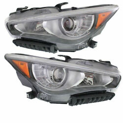 Set Of 2 Driver And Passenger Side Headlamp Assembly Fits 2014-2015 Infiniti Q50