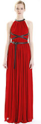 MICHAEL KORS COLLECTION Red Open Back Leather Belted Dress Gown 40 4