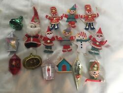 Lot Of 16 Vintage Christmas Ornaments Felt Others