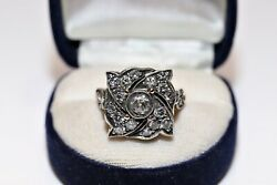 Antique Style New Made 14k Gold Natural Rose Cut Diamond And Diamond Ring