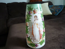 Gorgeous White Bristol Glass Portrait Vase/ Queen Louise/ Prussia/ 11 1/2 Tall