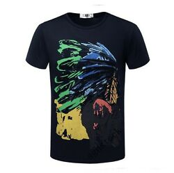 New Mens Fashion Crew Neck Short Sleeves Indian Printed Slim Boyand039s T-shirts Size