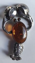 Large Sterling Silver And Genuine Amber Belly Lobster Pin Brooch