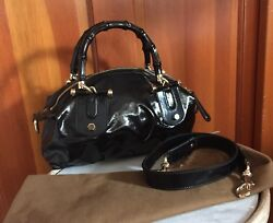 Gucci Dialux POP Black Bamboo Handbag Coated Patent Leather 2 Way Hobo Tote Bag