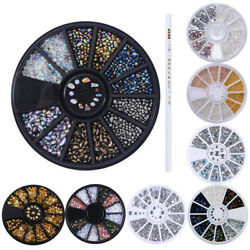 10Pcs Kit Nail Art Decoration Resin Rhinestone Chameleon Stone Steel Beads Studs