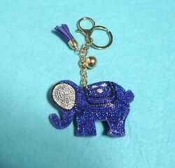 Rhinestone Crystals ELEPHANT Good Luck Keychain Purse Charm Tassel
