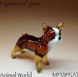 Figurines dog French Bulldog Blown glass Souvenirs Russian art miniature