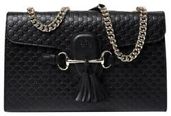Gucci Handbag Emily Medium Leather Classic Crossbody Shoulder Bag Black 449635