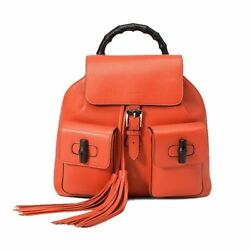 Gucci Womens Bamboo Leather Backpack Casual Business 370833 6525 Bright Orange