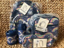 Pottery Barn Kids Rainbow Small Backpack Water Bottle Lunch Box Thermos Case Nwt