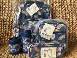 Pottery Barn Kids Large Backpack Rainbow Water Bottle Lunch Box Thermos Case New