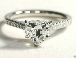 0.70 Cts D Color Heart Shape Natural Diamond Promise Engagement Ring Solid 14k