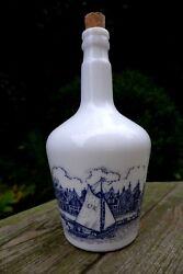 Vintage White Milk Glass Bottle, Beautiful Boat Lake Old Town Design Collector
