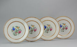 Very Rare Antique Chinese 18th C. Qianlong Period Dinner Plate Qing Set Of 4