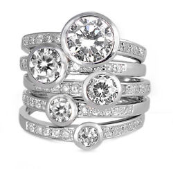 Stackable Bezel Round White Cz Wedding Ring Set .925 Sterling Silver Sizes 4-12