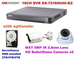 Hikvision 16ch H.265pro+ Dvr Ds-7216huhi-k2 With Hdd And/or Mxt 5mp Hd Cameras