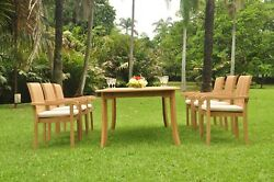 Grade-a Teak Wood Napa 7pc Dining 117 Rectangle Table 6 Stacking Arm Chair Set