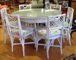 Antique 1920and039s 48 Glass Topped. White Round Wicker Table/6 Chairs.