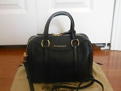 NWT Burberry Alchester Small Leather Bowler Tote Satchel Shoulder BagBlack$1495