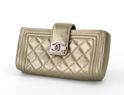 Authentic CHANEL Boy Leather Quilted Wallet clutch bag phone case Gold CC logo