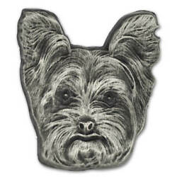 PinMart's Silver 3D Yorkshire Terrier Dog Breed Dog Lover Lapel Pin