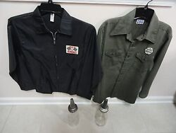 2 Vintage Oil Filler Bottles And 1 Gt Kendall Jacket 1 Cities Services Shirt