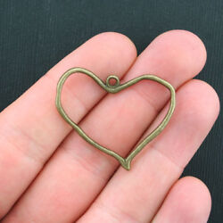 8 Heart Charms Antique Bronze Tone 2 Sided Large Size - Bc1028