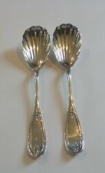 Pair Newell Harding Boston Coin Silver 8.5 Shell Serving Spoons 150 Grams