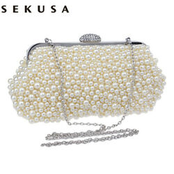 SEKUSA evening bags crystal small women bag cross body clutch bags and purses